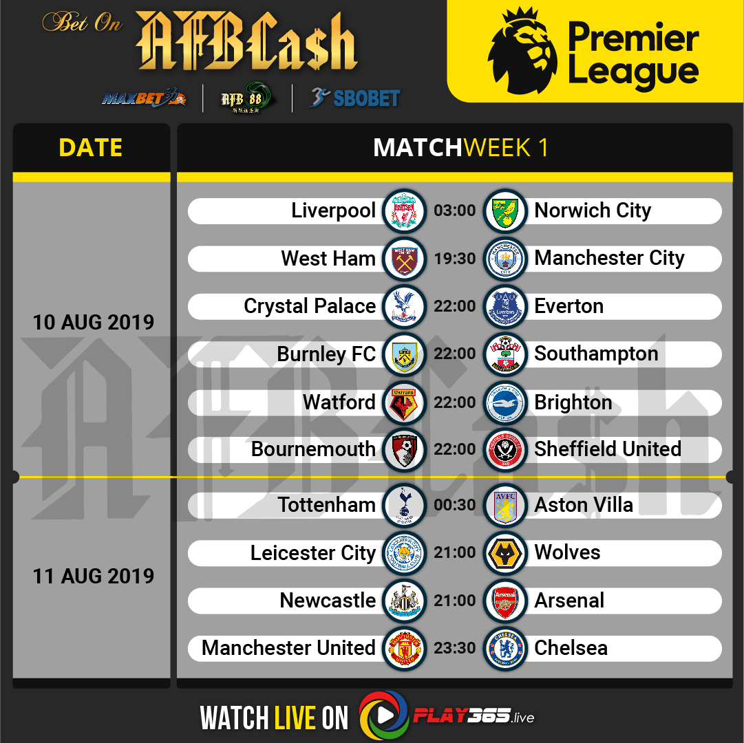 Week1 - Premier League Schedule 2019-2020